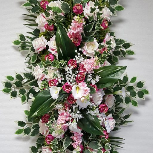 accessoires couronne de fleurs blanches et rose et lières
