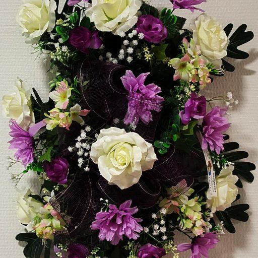 accessoires couronne de fleurs blanches et mauves