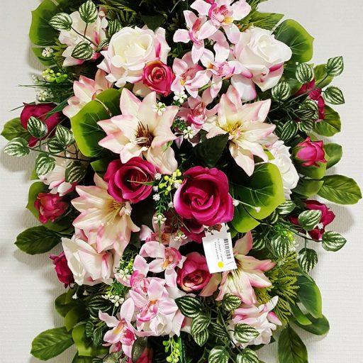 accessoires couronne de fleurs blanches et roses