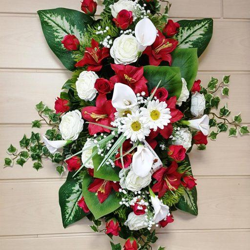 accessoires couronne de fleurs blanches et rouges